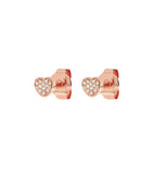 14k Pave Diamond Heart Stud Earrings