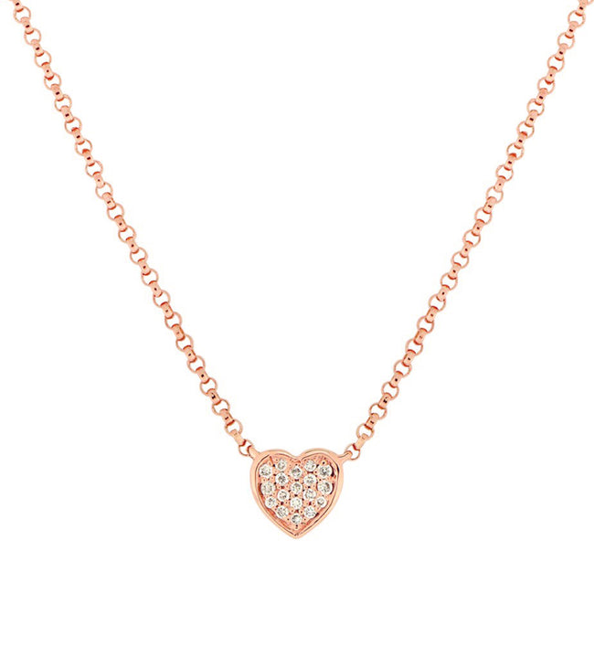 14k Pave Diamond Heart Necklace