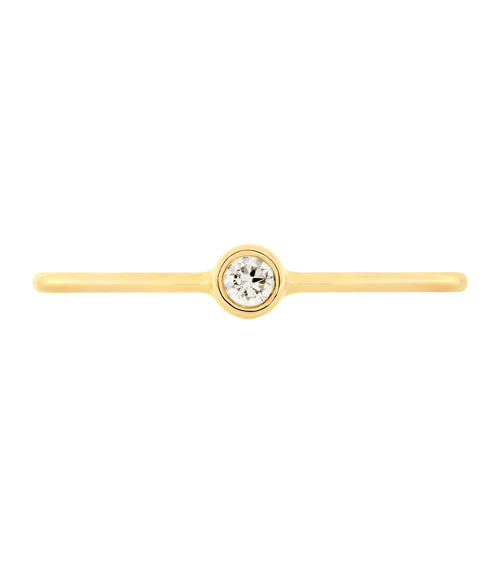 14k Single Bezel Set Diamond Ring