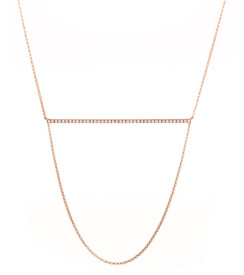 14k Pave Diamond Horizontal Bar with Dropped Chain Necklace