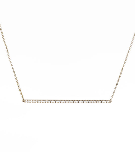 14k Pave Diamond Horizontal Bar Necklace