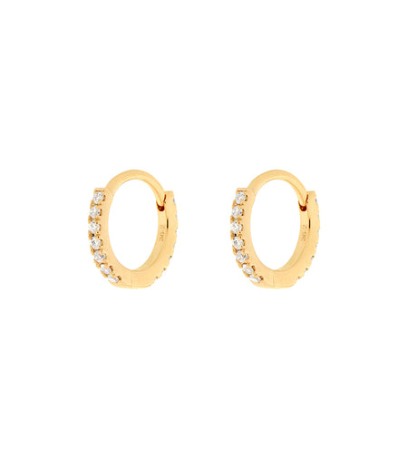 14k Bezel Set Diamond Open Hoop Earrings