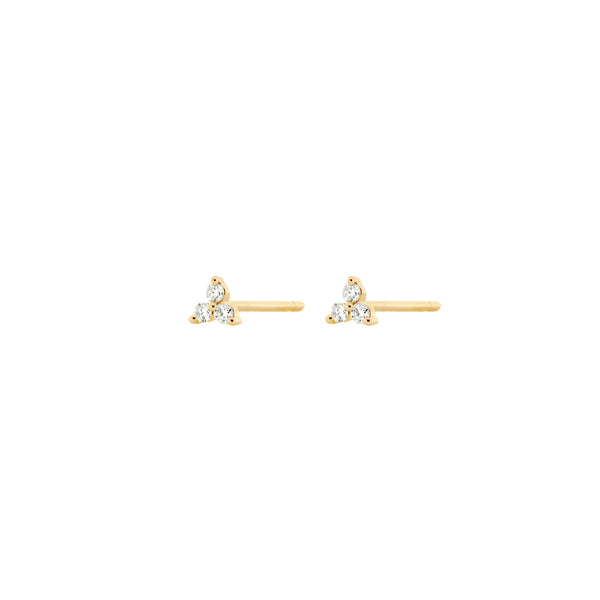 14k Trinity Diamond Bezel Set Stud Earrings