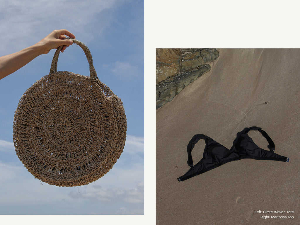 circle woven bag and black swimsuit top