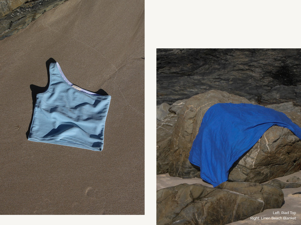 blue swimsuit and blue beach towel
