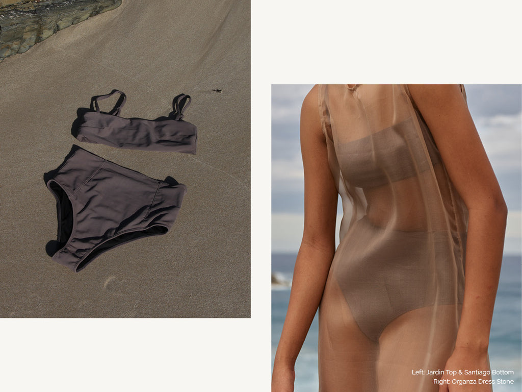brown swimsuit and sheer dress