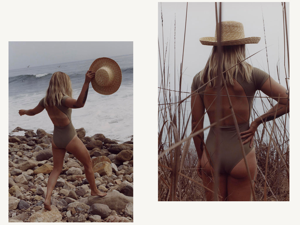 chacahua swimsuit open back in olive