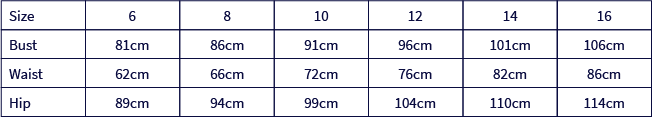 measurement size chart