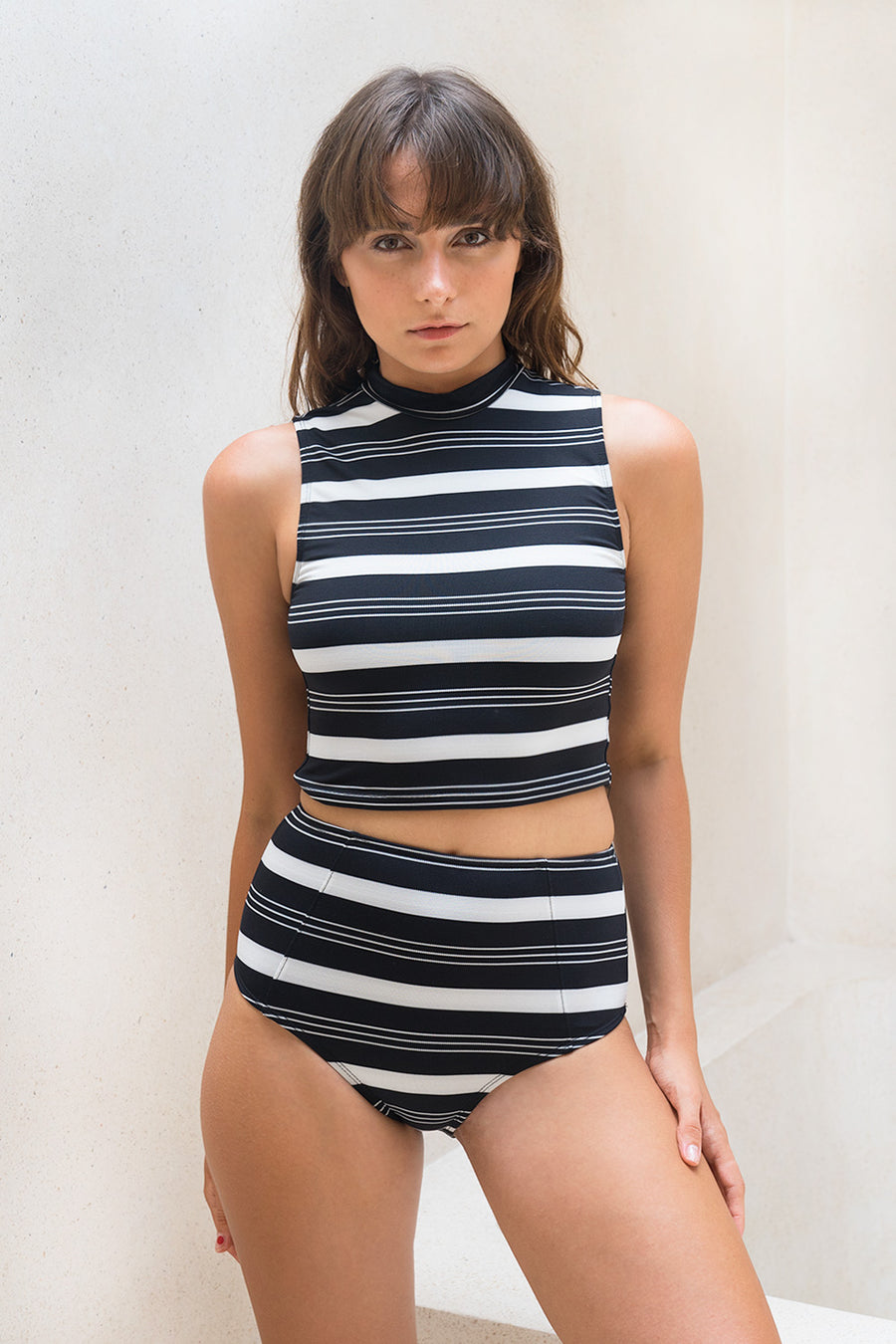 Santiago High Bottom Black + White Stripe