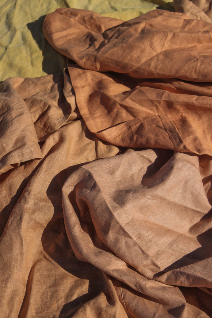 Linen Beach Blanket Terracotta