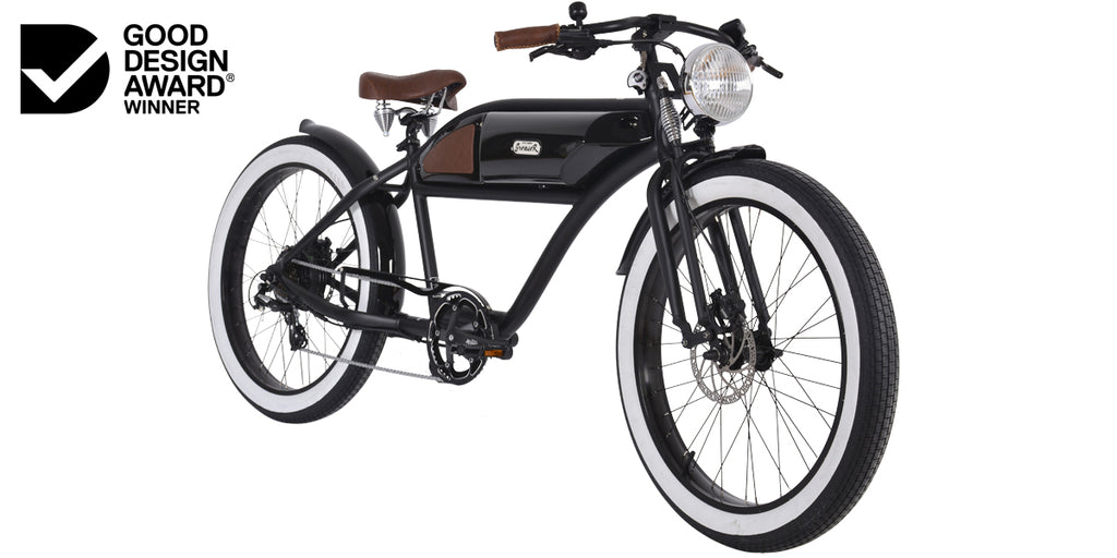 PRE-ORDER | GREASER SPRINGER EDITION | GLOSS BLACK | VINTAGE ELECTRIC BIKE | BOARDTRACKER | E BIKE