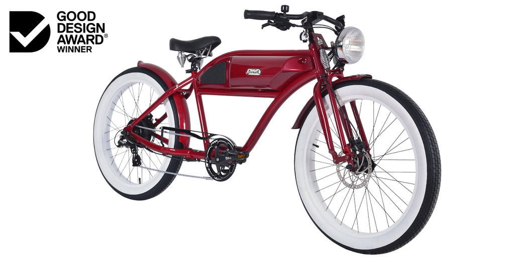 PRE-ORDER | GREASER SPRINGER EDITION | RED | VINTAGE ELECTRIC BIKE | BOARDTRACKER | E BIKE