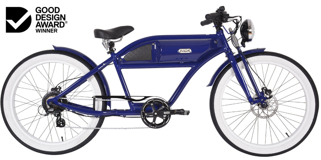PRE-ORDER | GREASER SPRINGER EDITION | BLUE | VINTAGE ELECTRIC BIKE | BOARDTRACKER | E BIKE