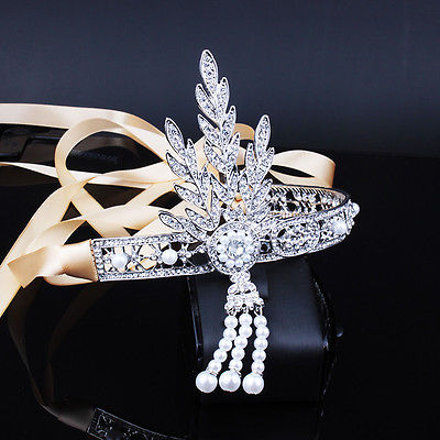 1920's Great Gatsby Rhinestone & Ribbon Tiara - Egret Jewellery