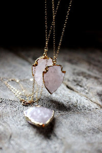Gold Boho Natural Rough Druzy Arrowhead Rose Quartz Necklace