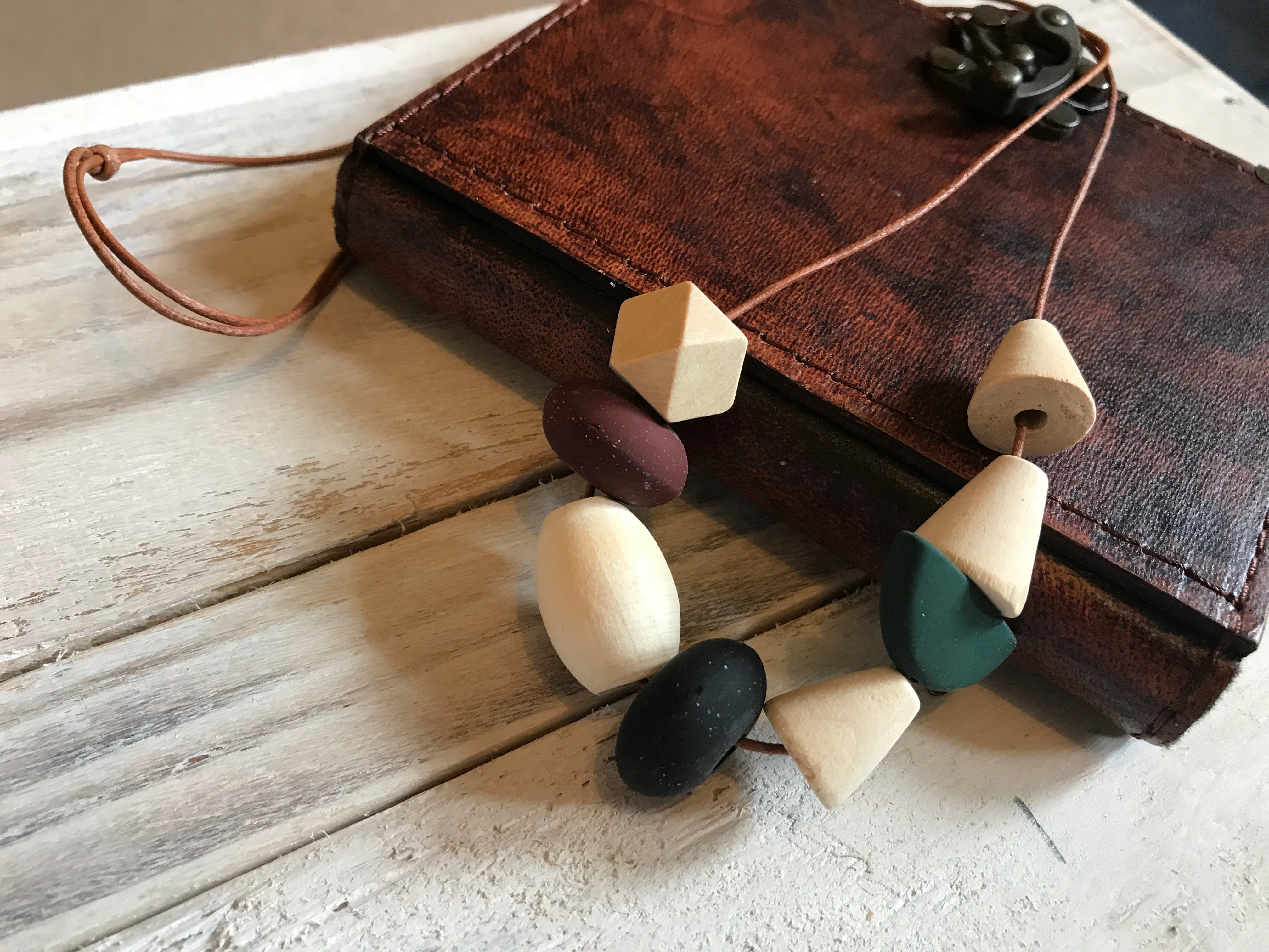 Boho Geometric Wooden Long Statement Beaded Necklace