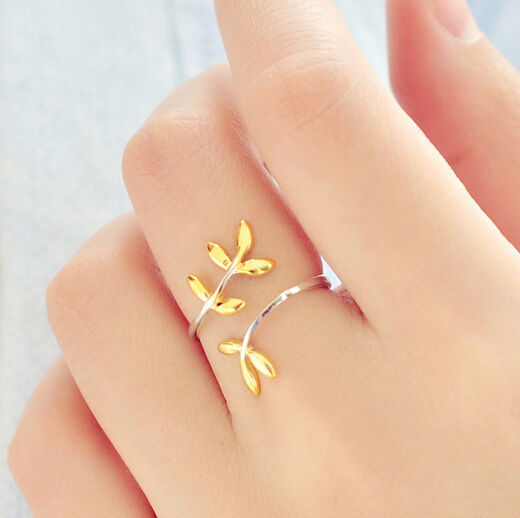 Boho Sterling Silver & Gold Dipped Branch Ring - Egret Jewellery