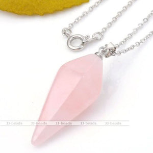 Rose Quartz Crystal Healing Chakra Pendulum Necklace