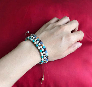 Natural Turquoise & Gold Beaded Stone Stacking Bracelet.