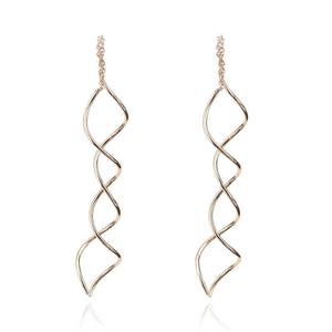18ct Rose Gold Earrings Spiral Pull Through Threader Dangle Drop