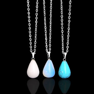 Silver Teardrop Opal Moon Stone Necklace - Egret Jewellery