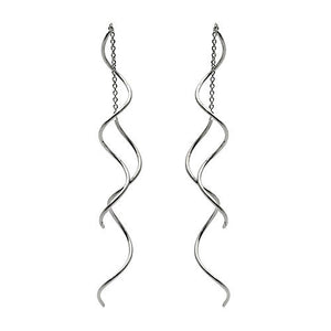 18ct White Gold Spiral Pull Through Threader Drop Earrings - Egret Jewellery