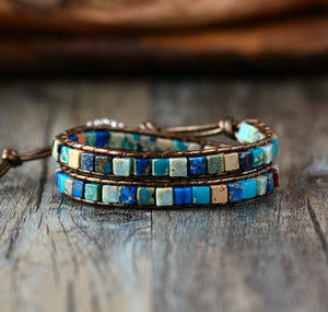 Blue Agate Leather Beaded Friendship Wrap Bracelet