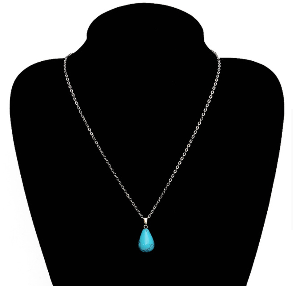 Natural Turquoise Crystal Teardrop Necklace | Droplet Pendant