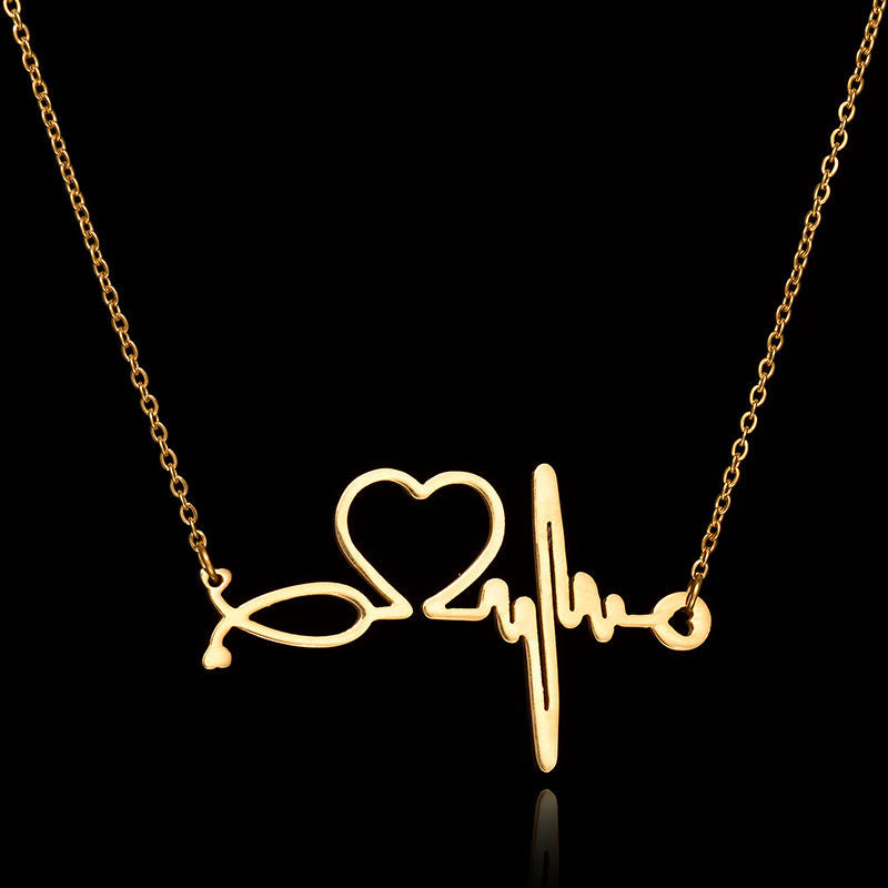 Nurse ECG Stethoscope Necklace - Heart Beat Necklace Doctor Gold Dipped Science