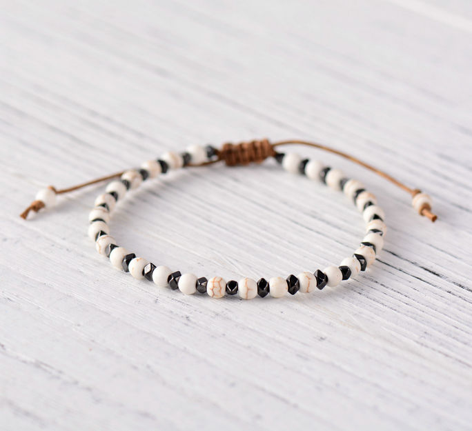 Natural Stone Howlite Beaded Stacking Friendship Bracelet
