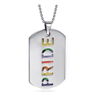 LGBT RAINBOW PRIDE STAINLESS STEEL PENDANT DOG TAG NECKLACE Gay and Lesbian - Egret Jewellery