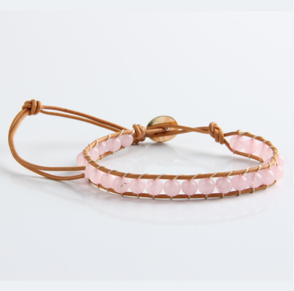 Leather, Rose Quartz Natural Beaded Friendship Bracelet