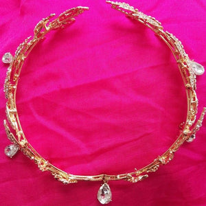 Bridal Tiara Rhinestone Crown | Wedding | Gold Headpiece Headband