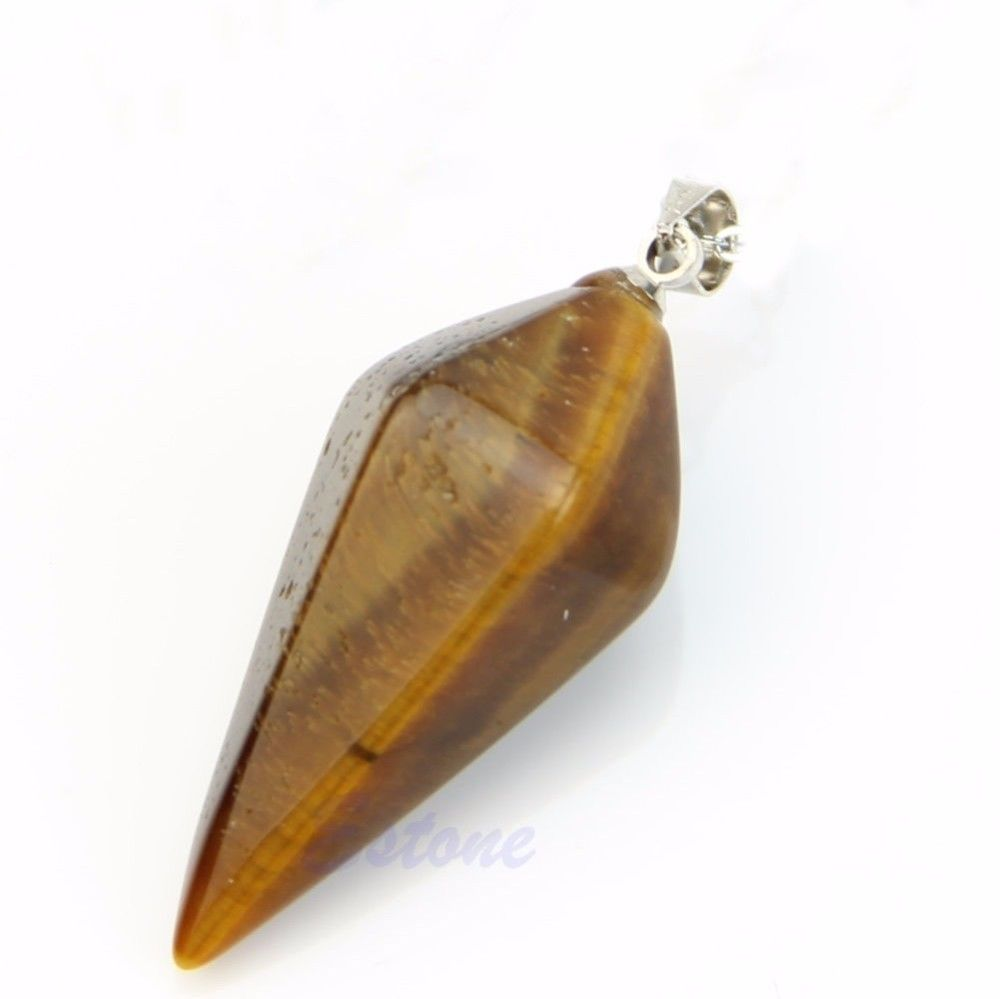 Tigers Eye Crystal Healing Chakra  Pendulum Necklace - Egret Jewellery