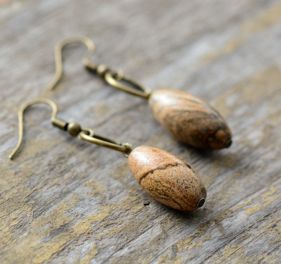 Bronze Pear Cabochon Jasper Drop Earrings