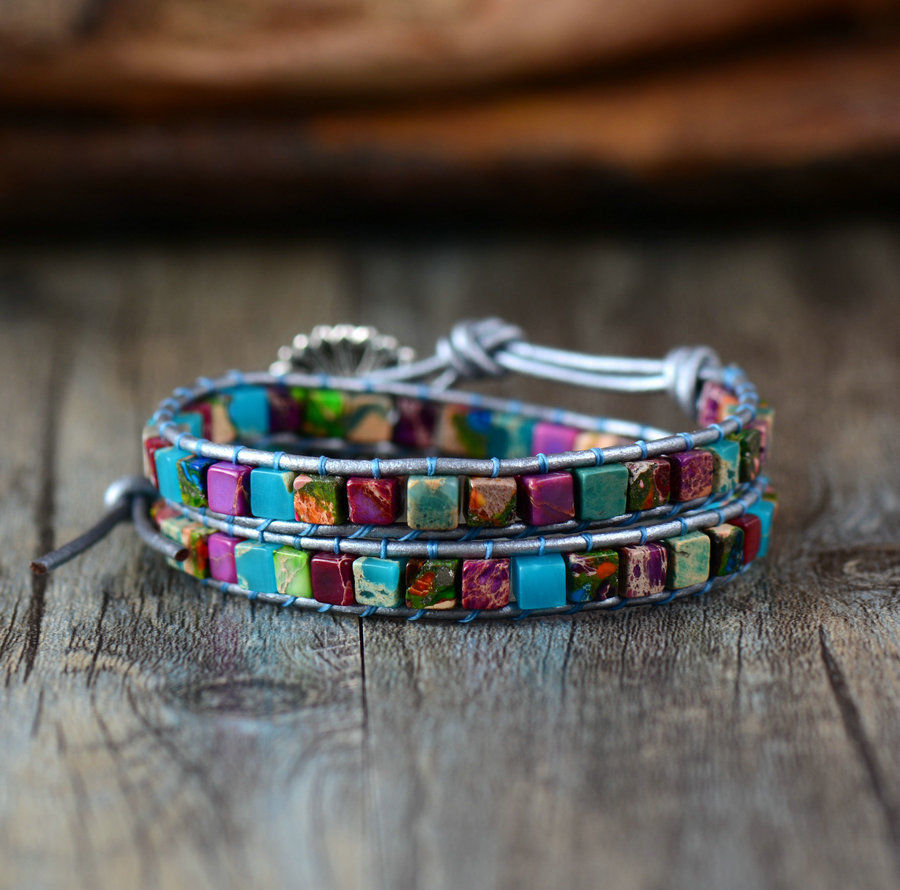 Turquoise & Agate Leather Beaded Friendship Wrap Bracelet