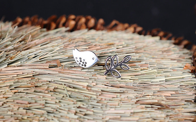 Sterling Silver Dove & Olive Branch Stud Earrings