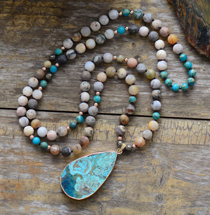 Natural Boho Ocean Jasper Turquoise Geode Beaded Necklace