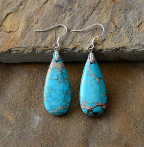 Large Blue Natural Turquoise Teardrop Silver Drop Earrings