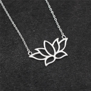 Sterling Silver Lotus Flower Pendant 18 inch Necklace - Egret Jewellery