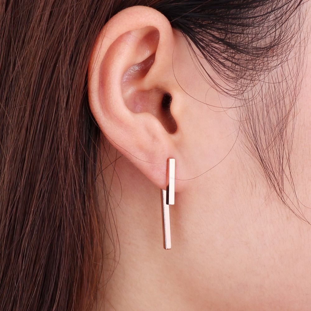 24K Gold Plated Geometric T Bar Ear Jacket  | Earrings
