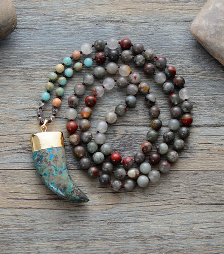 Boho Long Turquoise & Agate Beaded Mala Tusk Necklace - Egret Jewellery