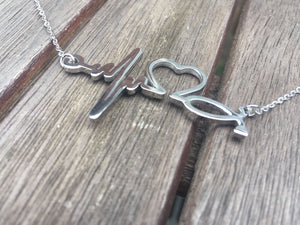 Silver Dipped Nurse | Doctor ECG Stethoscope Heart Beat Necklace - Egret Jewellery