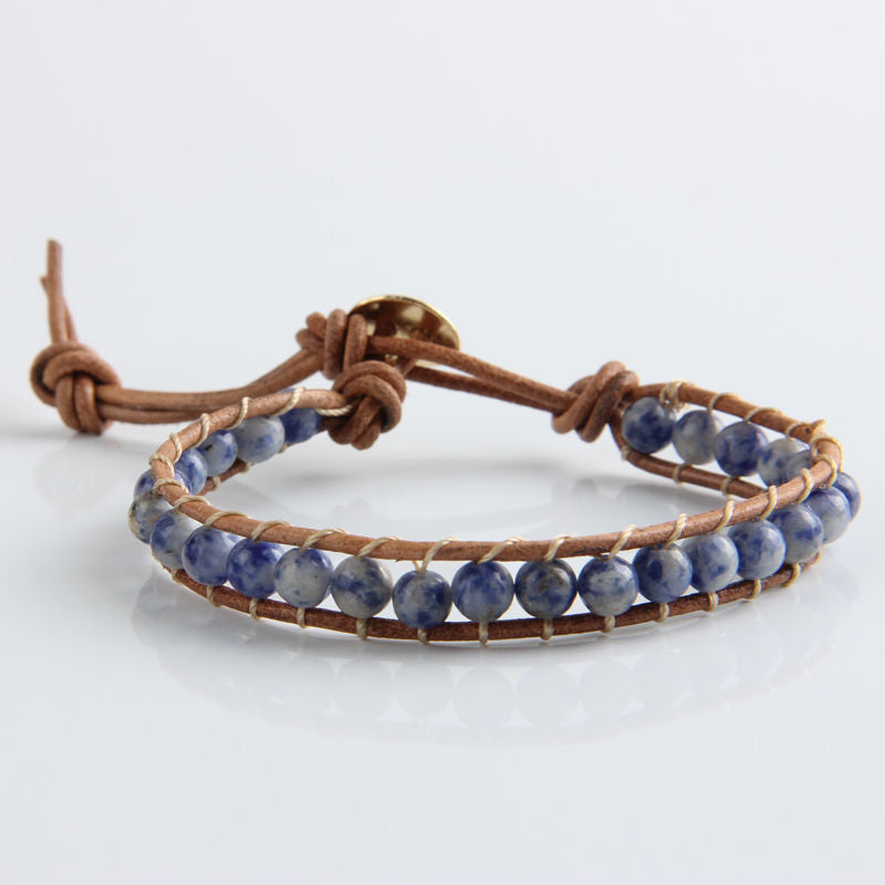 Lapis Lazuli Natural Beaded Leather Friendship Bracelet