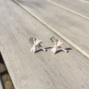 Brushed 925 Silver Sterling Dragonfly Stud Earrings
