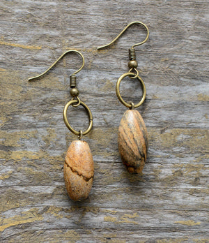 Bronze Pear Cabochon Jasper Drop Earrings - Egret Jewellery