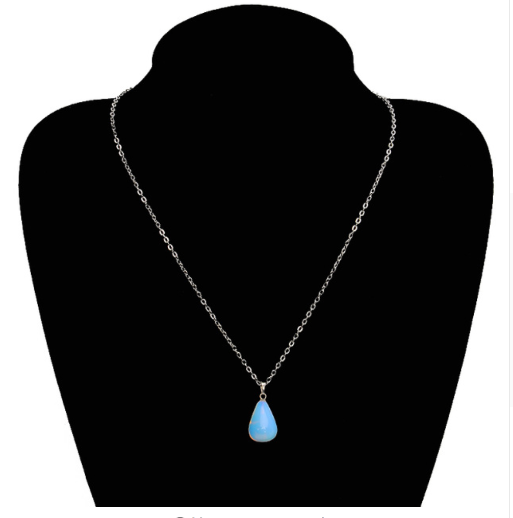 Silver Teardrop Opal Moon Stone Necklace