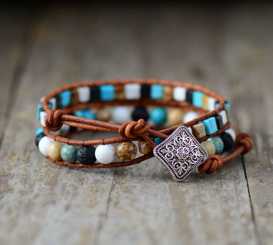 Natural Turquoise & Howlite Square Cut Leather Beaded Wrap Bracelet - Egret Jewellery