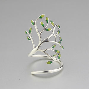Sterling Silver 925 Tree of Life Branch Leaf Enamel Wrap Adjustable Ring - Egret Jewellery