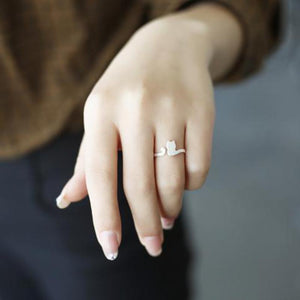 Brushed 925 Sterling Silver Cat tail Midi Ring - Egret Jewellery